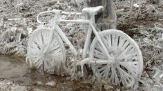 Ice storm affects hundreds of thousands in Canada, U. Freezing Rain, Ice Storm, O Canada, Blitz, Ice Ice Baby, Snow And Ice, Bike Art, Cool Bikes, Mother Nature