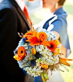 blue orange wedding flowers