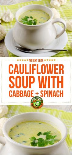 Find here two delicious cauliflower soup recipe ideas. Both are suitable for the cabbage soup diet week. The first one is a combination of cauliflower, cabbage and spinach,