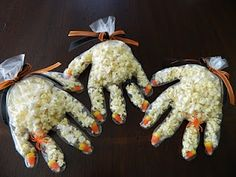 Popcorn hands for Halloween
