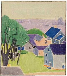 Houses near the Bay, about 1915-1916  Color Woodblock Print, Image Size  9H X 8 W  inches (22.8 X 20.1 cm)  By Edna Boies Hopkins (1872-1937)