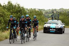 CARCASSONNE, FRANCE - JULY 21: Geraint Thomas of Great Britain and Berhard Eisel of Austria lead Team SKY on a training ride during the second rest day of the 2014 Tour de France, on July 21, 2014 in Carcassonne, France. (Photo by Bryn Lennon/Getty Images for Jaguar)
