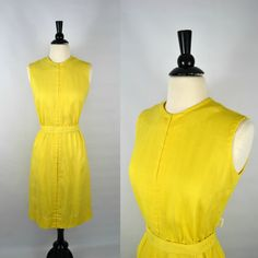 1950s Yellow Linen Dress by KrisVintageClothing on Etsy, $80.00