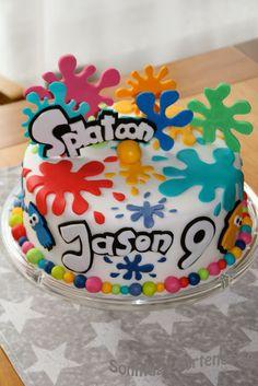 Sundays again: Splatoon cake- Immer wieder Sonntags: Splatoon Torte Sundays aga. Paintball Birthday Party, 9th Birthday Parties, Art Birthday, Birthday Ideas, Bolo Paintball, Art Party Cakes, Slime, Cupcake Cakes, Birthdays