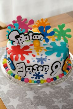 Sundays again: Splatoon cake- Immer wieder Sonntags: Splatoon Torte Sundays aga. Paintball Birthday Party, 9th Birthday Cake, 9th Birthday Parties, Art Birthday, Birthday Ideas, Bolo Paintball, Bday Girl, Party Cakes, Slime