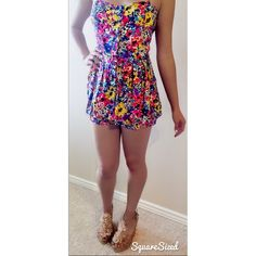 """Floral Romper I would suggest those who wear a 4 or a medium at forever 21 get this  Straps (adjustable): 16inches  From shoulder straps at longest- bottom: 30 inches  Neckline-waist: 9 inches  Waist-bottom: 12 inches  Whole romper: 22 inches  No trades or Paypal! 2 or more 30% off!  Let's not discuss haggling over comments... I'll have to say """"make offer""""  Fast shipper  Gift wrapper  Not a smoker  Clothes are clean before sending :) Forever 21 Pants Jumpsuits & Rompers"""