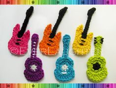 PATTERN-Crochet Acoustic and Electric Guitar Applique-PDF with Detailed Photos. $4.95, via Etsy.