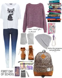 """Back to School!! :("" by georgialevagueresse ❤ liked on Polyvore: Different graphic tee but besides that too cute!"