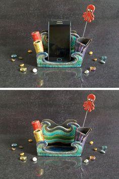 smartphone holder iphone stand with organizer. studio desk accessories.  portacellulare in ceramica raku con organizer ufficio - porta smartphone supporto per iphone by FedericoBecchettiArt on Etsy