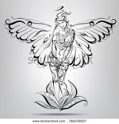 Girl angel with wings of a butterfly. Vector illustration