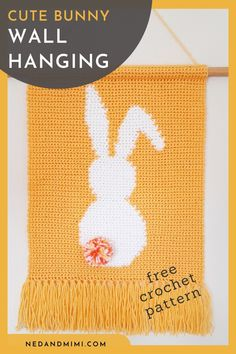 Add a pop of spring color to your home with this adorable crochet wall hanging. This pattern would make a perfect DIY Easter decor project! The bunny is created using the Crochet Wall Art, Crochet Wall Hangings, Tapestry Crochet, Crochet Decoration, Crochet Home Decor, Crochet For Kids, Free Crochet, Easter Crochet Patterns, Crochet Rabbit