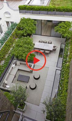 Dachterasse mit Esstisch und Sitzgruppe Back Gardens, Small Gardens, Outdoor Gardens, Roof Gardens, Backyard Patio, Backyard Landscaping, Landscaping Ideas, Backyard Designs, Inexpensive Landscaping