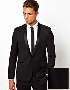 Black Tie NAIS charity event uniform ASOS+Slim+Fit+Tuxedo+With+Shawl
