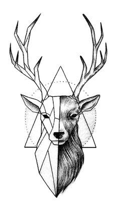 deer drawing - Drawing Tips Pencil Art Drawings, Art Drawings Sketches, Tattoo Sketches, Animal Drawings, Tattoo Drawings, Geometric Deer, Geometric Drawing, Geometric Tattoo Animal, Geometric Tattoos