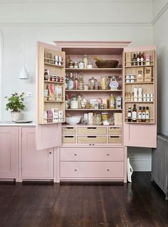 Kitchen ~ How to decorate with pink. Neptune Suffolk larder painted in Old Rose. : Kitchen ~ How to decorate with pink. Neptune Suffolk larder painted in Old Rose. Diy Kitchen Storage, Home Decor Kitchen, Country Kitchen, Kitchen Interior, New Kitchen, Kitchen Furniture, Cheap Kitchen, Kitchen With Pantry, Diy Furniture