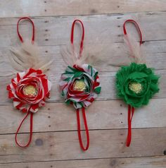Christmas Single Shabby Flower Headband on skinny elastic and feather accent