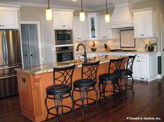 This island is wide enough to comfortably fit 4 bar stools! The Peyton #1289. http://www.dongardner.com/house-plan/1289/the-peyton. #kitchen #KitchenIsland #FloorPlan