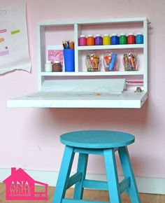 "diy wall desk for kids - for when the kids outgrow the dress up clothes and playhouse area will put in a ""homework"" station with 2 or more desks"