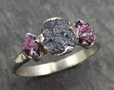 Raw Rough Black Diamond Ruby Multi Stone Ring 14k White Gold