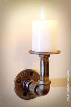 Modern Industrial Pipe steam punk candle holder by AudiyoCreations, $29.99: