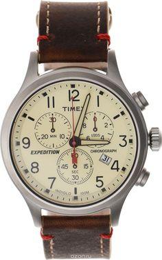 Часы наручные мужские Timex Analog Premium, цвет: коричневый, бежевый. TW4B04300