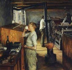 The Village Printing Shop, Haarlem, Holland Charles Frederic Ulrich - 1884