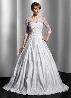 Ball-Gown V-neck Floor-Length Satin Tulle Wedding Dress With Lace Beading Sequins #wedding #dress