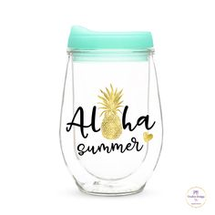 Aloha Summer decal for wine glass / DIY Decal /  Tumbler Decal / Bachelorette Party by PBCreativeDesigns on Etsy