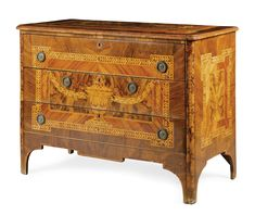 An Italian walnut, tulipwood, fruitwood, marquetry and parquetry neo-classical commode, Lombard, circa 1800.