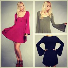 The Sabrina Bell Sleeve Dress is nothing short of A-maz-ing!!! Just added to www.GypsyWarrior.com // What color is your favorite?!!
