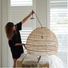 ideas for coastal pendant lighting bedroom Pendant Lighting Bedroom, Large Pendant Lighting, Wicker Pendant Light, Rattan Light Fixture, Diy Pendant Light, Basket Lighting, Ikea Lighting, Boho Lighting, Kitchen Lighting