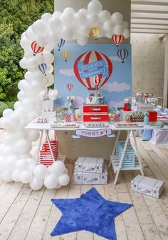Colors Hot Air Balloon Birthday Party Sweet Table from a Hot Air Balloon Birthday Party via Kara's Party Ideas Airplane Baby Shower, Airplane Party, Baby Shower Balloons, Birthday Balloons, Balloon Party, Balloon Ideas, 1st Boy Birthday, 1st Birthday Parties, December Birthday