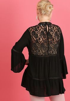 10773d74762 Umgee Black Lace Crochet Front   Back Keyhole Bell Sleeves Shirt Top XL