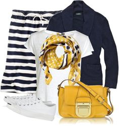 """Navy and yellow"" by luv2shopmom on Polyvore"