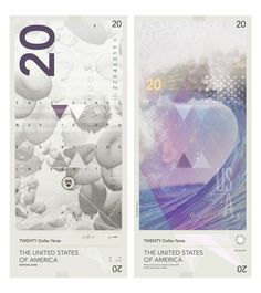 """Travis Purrington, """"WORTH: The Aesthetics of Global Interest"""", Banknote / Currency design [USD] master's thesis, Basel School of Design, 2011."""