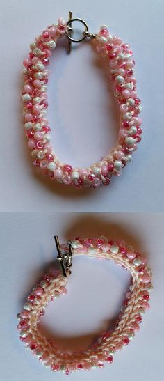 Crocheted Bead Bracelet Pink and white Czech Glass Beads handmade by Meander Canyon Crafts. Silver tone toggle clasp. Size small - 7 inches.