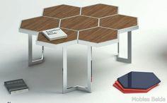 Mesa centro hexágono de 90x85x45 cm. Estructura metálica de acero inoxidable,tapas madera o cristal.Opción diferentes colores. Personalizable. Calidad alta Referencia:...