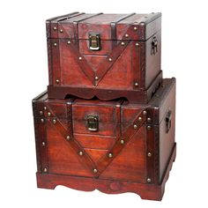 Decorative box by Quickway Imports that is great for storage and decoration. These chests feature an antique cherry finished and old fashioned hardware to add to the antique look.