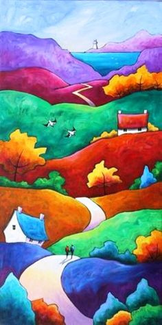 Colorful folk art hills and road path to the sea. Cute painting idea with depth. Paisaje