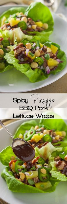 All the flavors of our favorite pizza but in a slimmed down dish! Spicy Pineapple BBQ Pork Lettuce Wraps are sweet, spicy and a quick dinner...