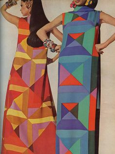 Vogue, 1967 - Not sure I'm crazy about the geometric designs but I love the idea and pattern.  However, me?   I would difinitely swap the larger square on her stinacg for the smaller one just above it (blue dress).  It may only be an illusion, but hey, it all helps.   lol