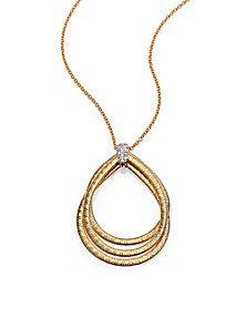 Marco Bicego - Cairo Diamond & 18K Yellow Gold Triple Teardrop Necklace (=)