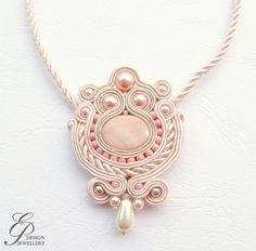 Powder pink  soutache necklace soutache jewelry ♥ by EditBeadIt, $45.00