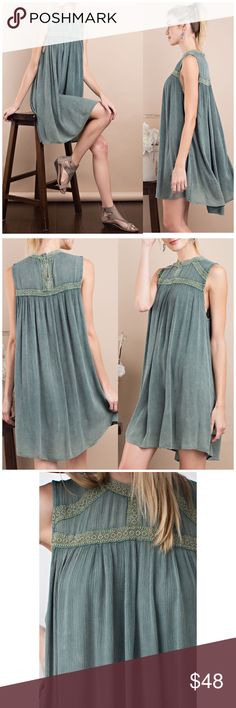 Wormwood Crochet Detail Dress sleeveless rayon gauze oil washed mock neck tunic dress featured crochet tape detailing. 100% rayon     Fits true to size  Follow us on Instagram for awesome perks  @b_chic_boutique B Chic Boutique Dresses