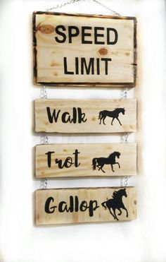 Items similar to Horse sign - horse speed limit - rustic horse sign - farm sign - barn sign - horse signs - wood horse sign - horse lover gift - ranch sign on Etsy Horseshoe Crafts, Horseshoe Art, Farm Signs, Wood Signs, Horse Themed Bedrooms, Horse Rooms, Tack Rooms, Cowgirl Bedroom, Equestrian Decor