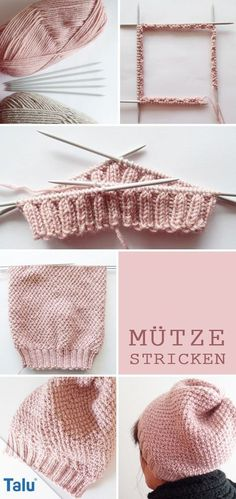 Knit hat - free knitting instructions for beginners - Talu.de , Knit hat - free knitting instructions for beginners - Talu. Easy Knitting, Knitting Socks, Knitting Needles, Knitted Hats, Baby Knitting Patterns, Crochet Patterns, Knit Crochet, Crochet Hats, Blog Couture
