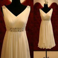 V Neck Short Ivory Chiffon Summer Wedding Dress with Cascade Skirt Knee Length Beach Bridal Dress Go Wedding Dress Chiffon, White Wedding Gowns, Dress Prom, Party Dress, Wedding Skirt, Prom Party, Dress Long, Dress Skirt, Prom Dresses