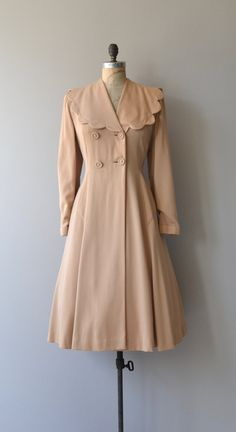 Vintage 1940s warm sand beige wool princess coat, mid-weight, with large scalloped collar, double-breasted buttons, gorgeous gathered back with