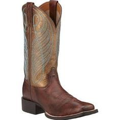 Ariat Women's Round Up Wide Square Toe Boot Yukon Brown/Bronze Full Grain Leather Size 11 B