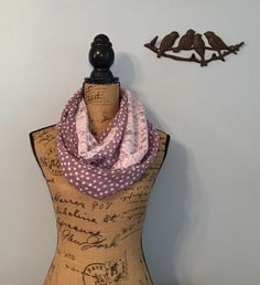 Purple Polkadot and Lace Infinity Scarf by OllyOx on Etsy https://www.etsy.com/listing/462198939/purple-polkadot-and-lace-infinity-scarf